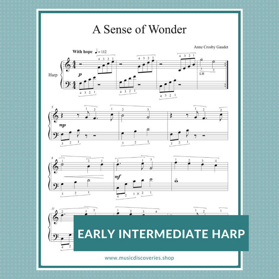 A Sense of Wonder, early intermediate harp sheet music by Anne Crosby Gaudet