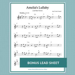 Amelia's Lullaby, harp solo and lead sheet by Anne Crosby Gaudet