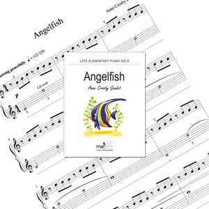 Angelfish is a late elementary piano solo by Anne Crosby Gaudet. Private studio license is available for a convenient download, print and play teaching resource.