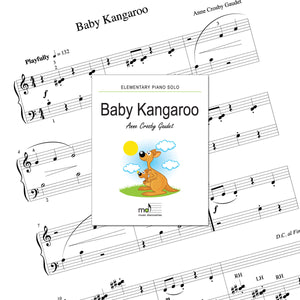 Baby Kangaroo is an elementary piano solo by Anne Crosby Gaudet. Private studio license is available for a convenient download, print and play teaching resource.