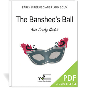 The Banshee's Ball is an early intermediate piano solo by Anne Crosby Gaudet. Private studio license is available for a convenient download, print and play teaching resource.