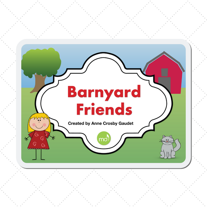 The Barnyard Friends digital teaching aid to practice landmark music notes on your iPad.
