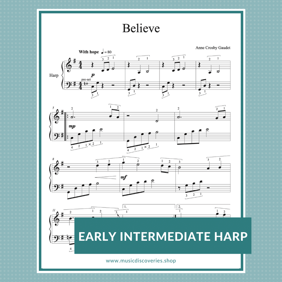 Believe, early intermediate harp solo by Anne Crosby Gaudet