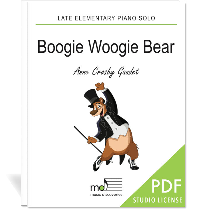 Boogie Woogie Bear is a late elementary piano solo by Anne Crosby Gaudet. Private studio license is available for a convenient download, print and play teaching resource.