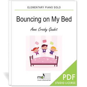 Bouncing on My Bed is an elementary piano solo by Anne Crosby Gaudet. Private studio license is available for a convenient download, print and play teaching resource.