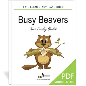 Busy Beavers is a late elementary piano solo by Anne Crosby Gaudet. Private studio license is available for a convenient download, print and play teaching resource.