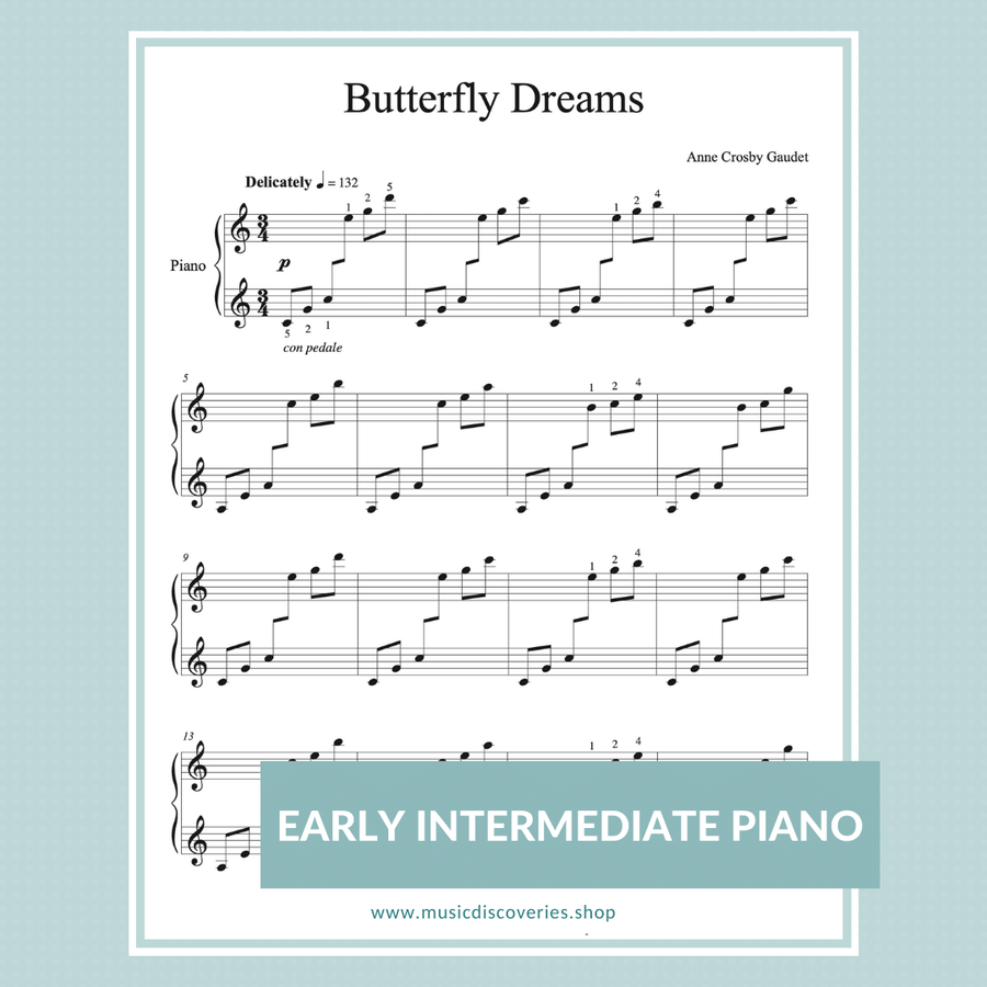 Butterfly Dreams, early intermediate piano solo by Anne Crosby Gaudet