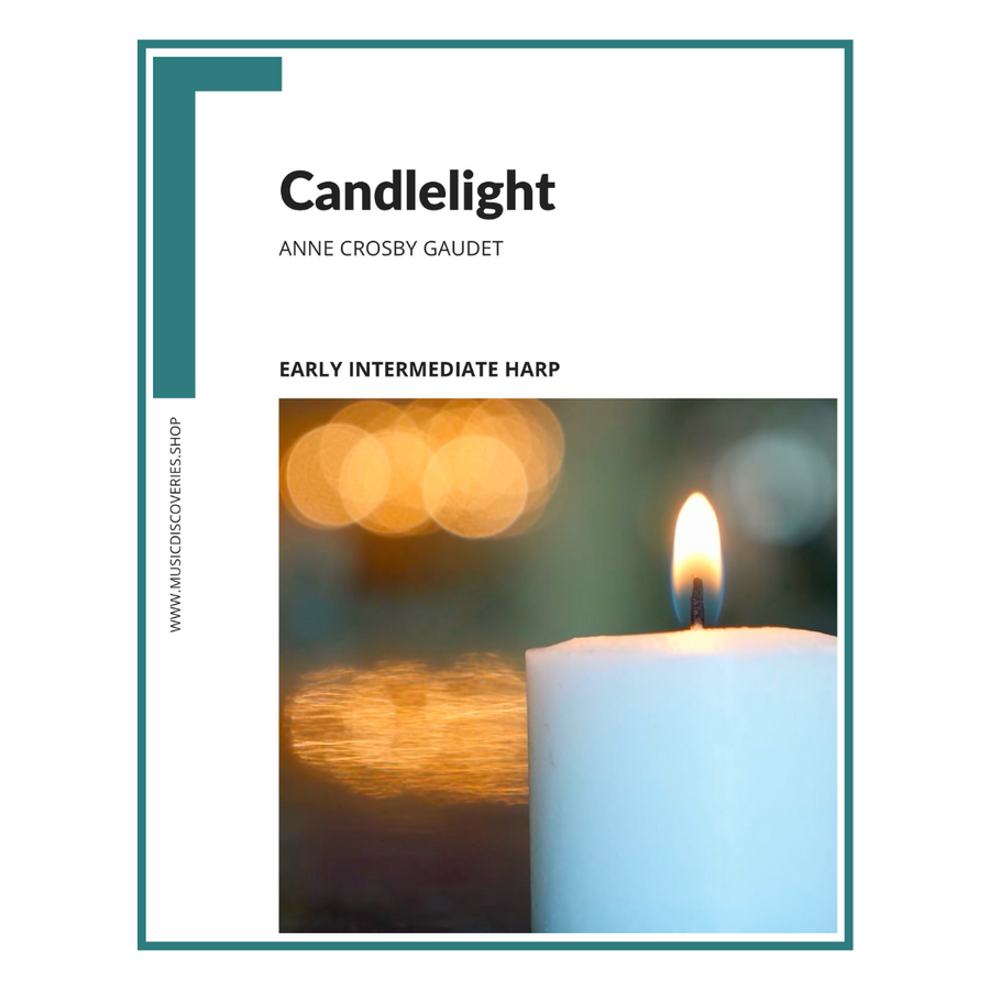 Candlelight, early intermediate harp sheet music arrangement by Anne Crosby Gaudet