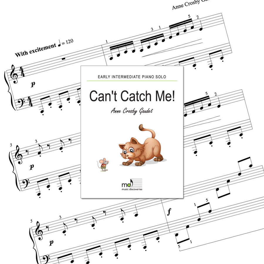 Can't Catch Me is an early intermediate piano solo by Anne Crosby Gaudet. Private studio license is available for a convenient download, print and play teaching resource.
