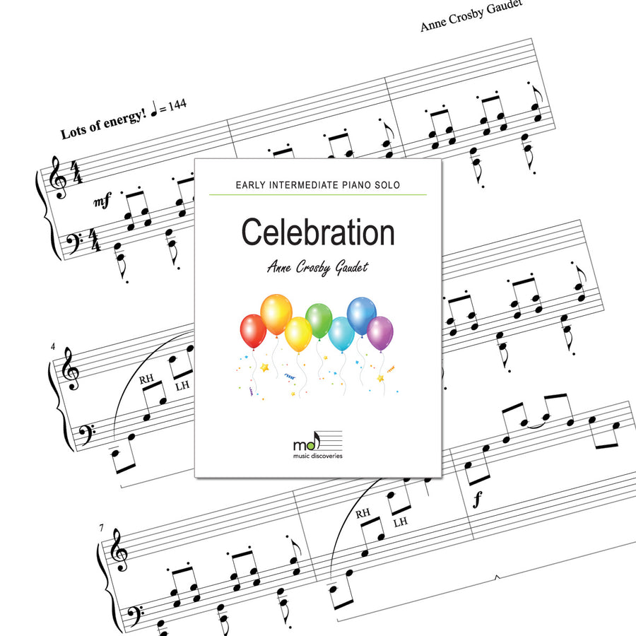 Celebration is an early intermediate piano solo by Anne Crosby Gaudet. Private studio license is available for a convenient download, print and play teaching resource.