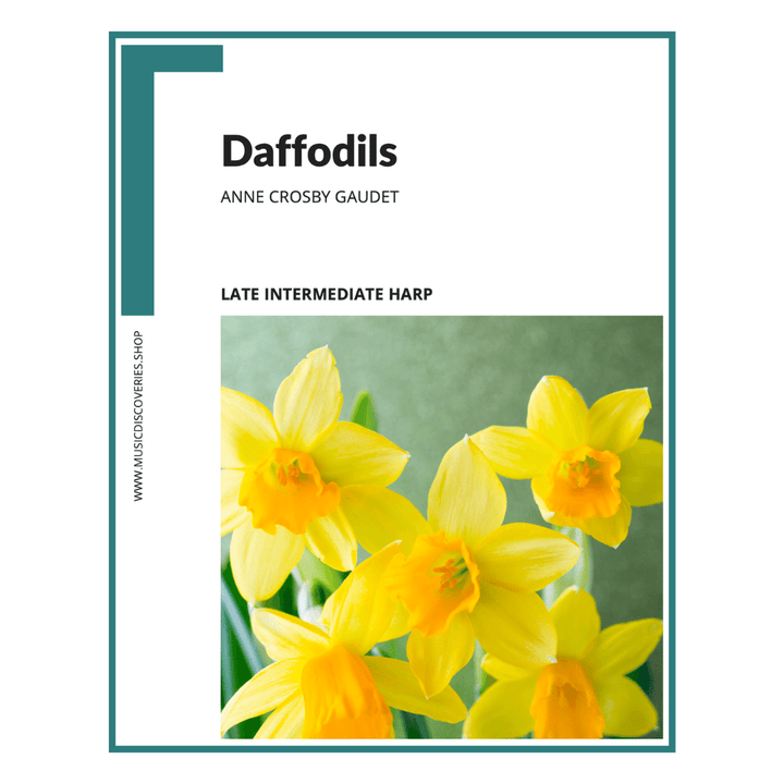 Daffodils, late intermediate harp sheet music by Anne Crosby Gaudet