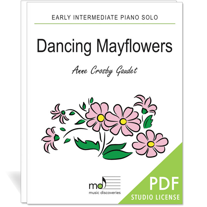 Dancing Mayflowers is an early intermediate piano solo by Anne Crosby Gaudet. Private studio license is available for a convenient download, print and play teaching resource.