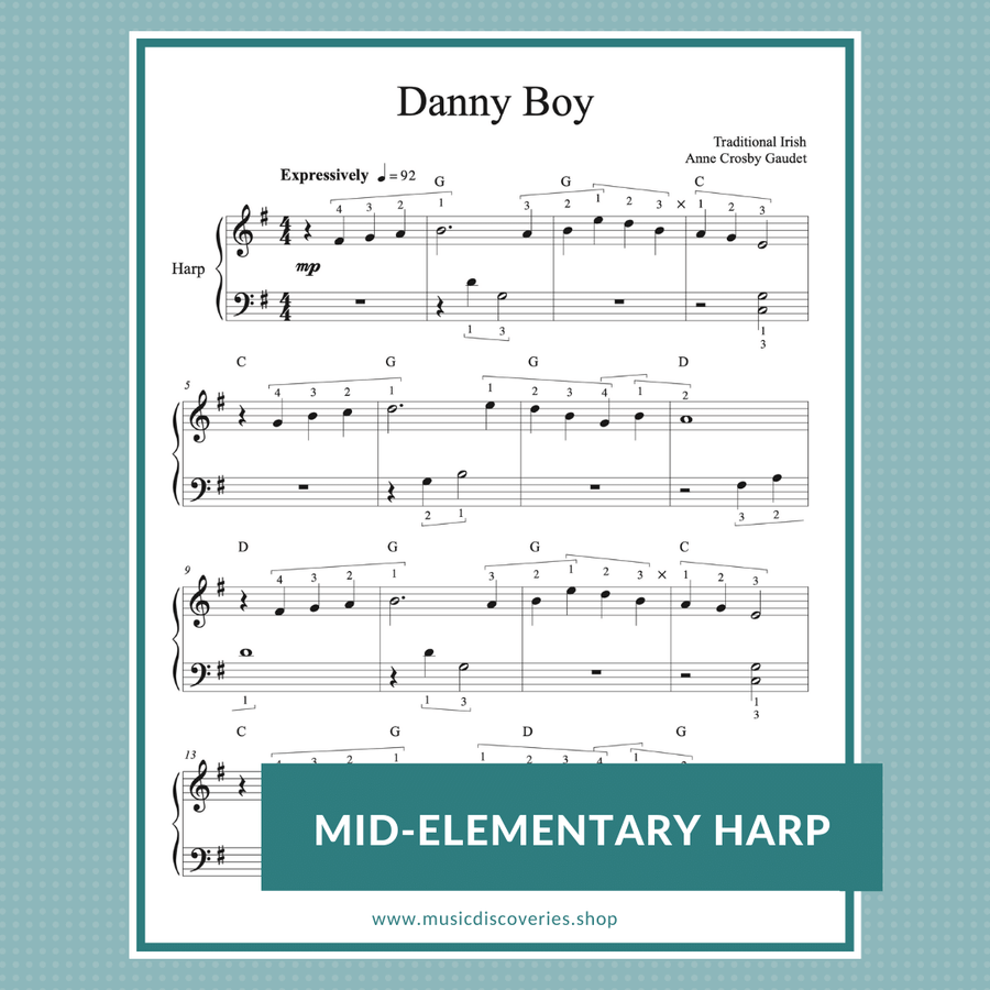 Danny Boy, mid-elementary harp arrangement by Anne Crosby Guadet