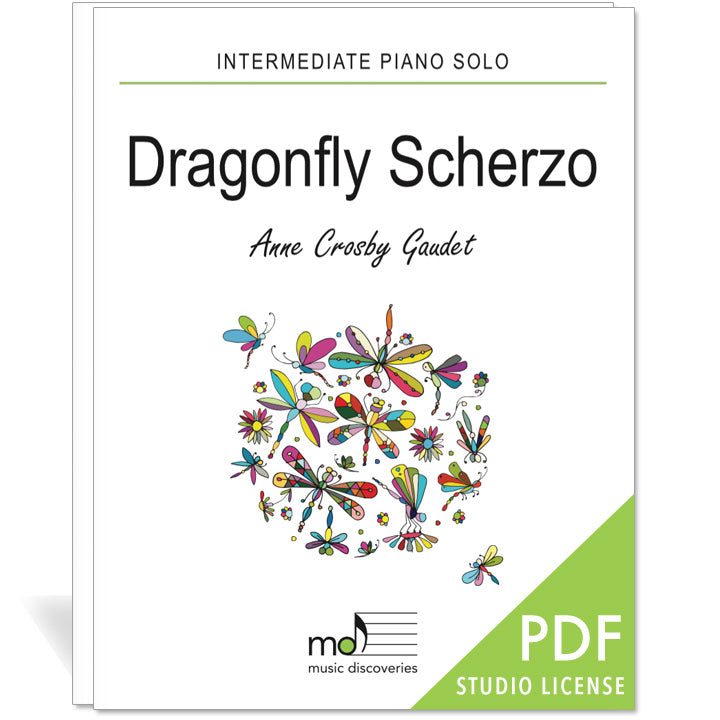 Dragonfly Scherzo is an intermediate piano solo by Anne Crosby Gaudet. Private studio license is available for a convenient download, print and play teaching resource.