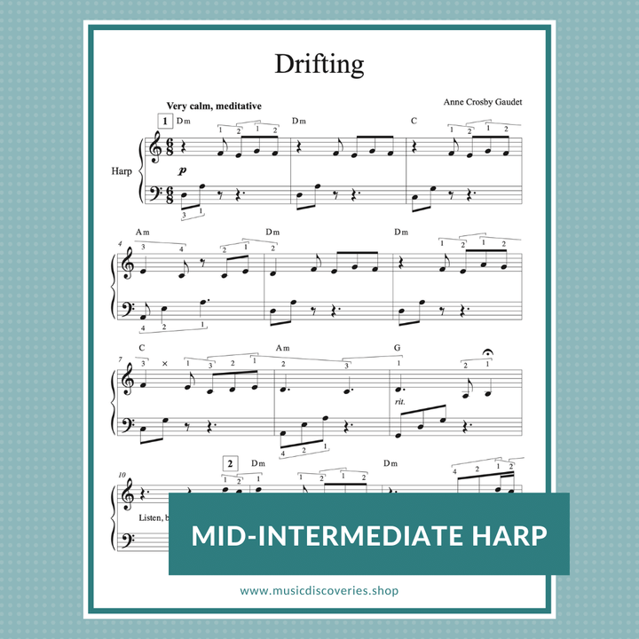 Drifting, mid-intermediate meditative harp solo by Anne Crosby Gaudet