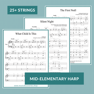 3 Easy Christmas Carols, arranged for small 25-string harp by Anne Crosby Gaudet