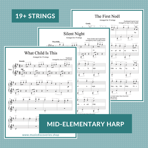 3 Easy Christmas Carols, arranged for small 19-string harp by Anne Crosby Gaudet