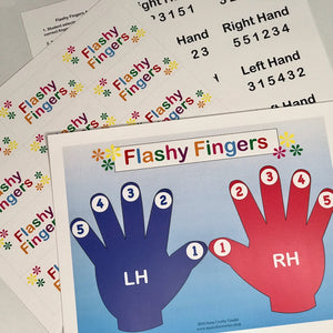 Flashy Fingers is a colorful activity to reinforce right hand, left hand and finger numbers for beginning piano students.