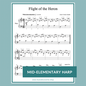 Flight of the Heron, mid-elementary harp sheet music by Anne Crosby Gaudet