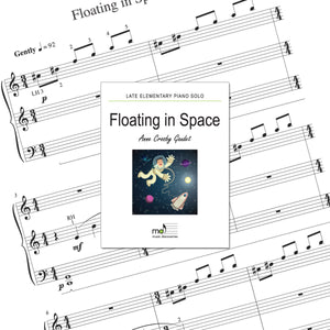 Floating In Space is a late elementary piano solo by Anne Crosby Gaudet. Private studio license is available for a convenient download, print and play teaching resource.