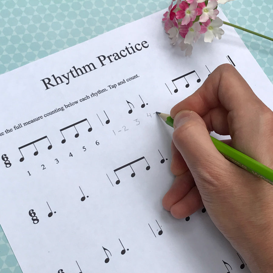 Rhythm Practice, bonus worksheet in the Forget Me Not harp solo by Anne Crosby Gaudet