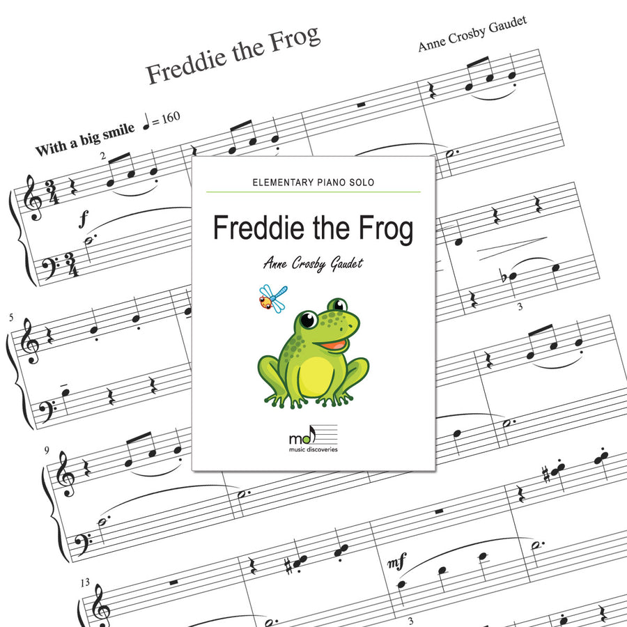 Freddie the Frog is an elementary piano solo by Anne Crosby Gaudet. Private studio license is available for a convenient download, print and play teaching resource.