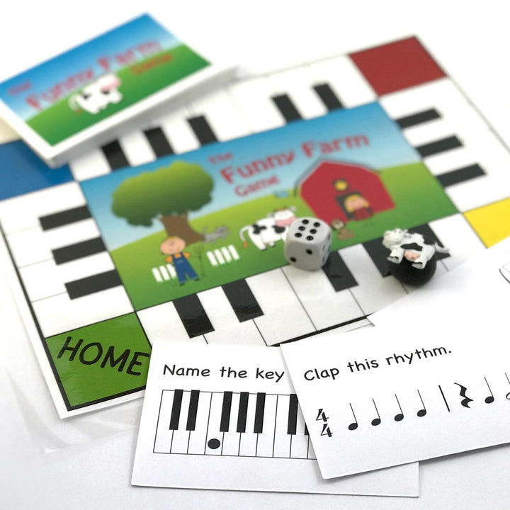 The Funny Farm Game is lots of fun for reviewing elementary level music concepts. Name white keys, clap simple rhythms, name notes and music symbols as you make your way around the farm. Just download • print • play! Another fun and effective teaching aid from Music Discoveries.