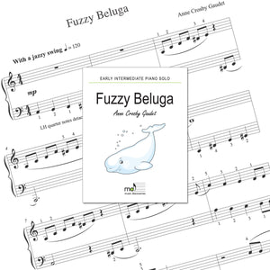 Fuzzy Beluga is an early intermediate piano solo by Anne Crosby Gaudet. Private studio license is available for a convenient download, print and play teaching resource.