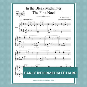 In the Bleak Midwinter & The First Noel, harp sheet music arranged by Anne Crosby Gaudet