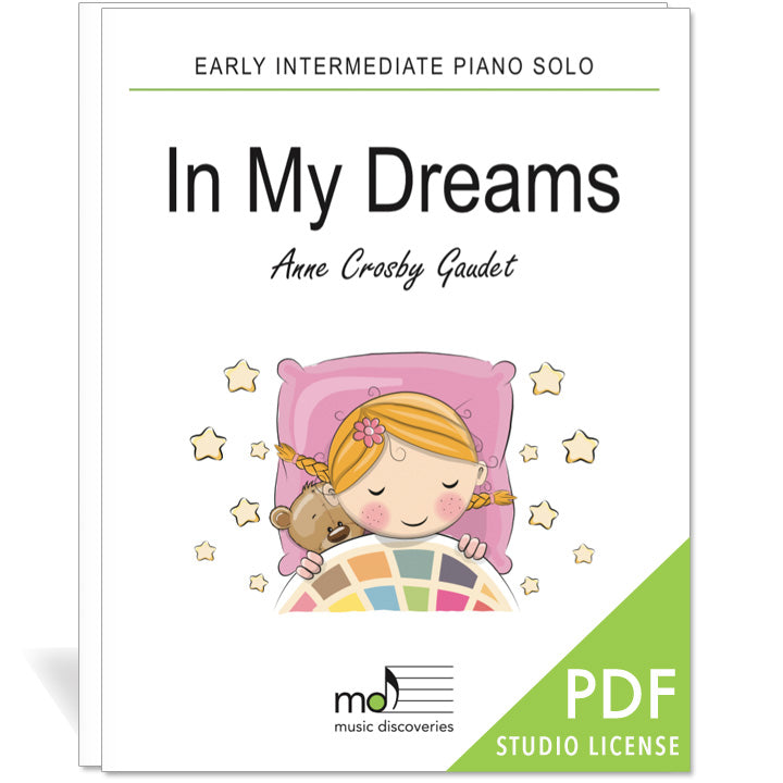 In My Dreams is an early intermediate piano solo by Anne Crosby Gaudet. Private studio license is available for a convenient download, print and play teaching resource.