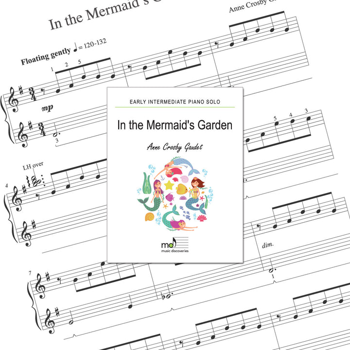 In the Mermaid's Garden is an early intermediate piano solo by Anne Crosby Gaudet. Private studio license is available for a convenient download, print and play teaching resource.