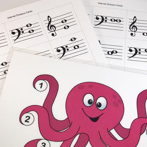 Practice identifying intervals with the printable Interval Octopus teaching aid from Music Discoveries.