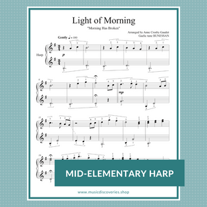 Light of Morning, elementary harp sheet music arrangement by Anne Crosby Gaudet