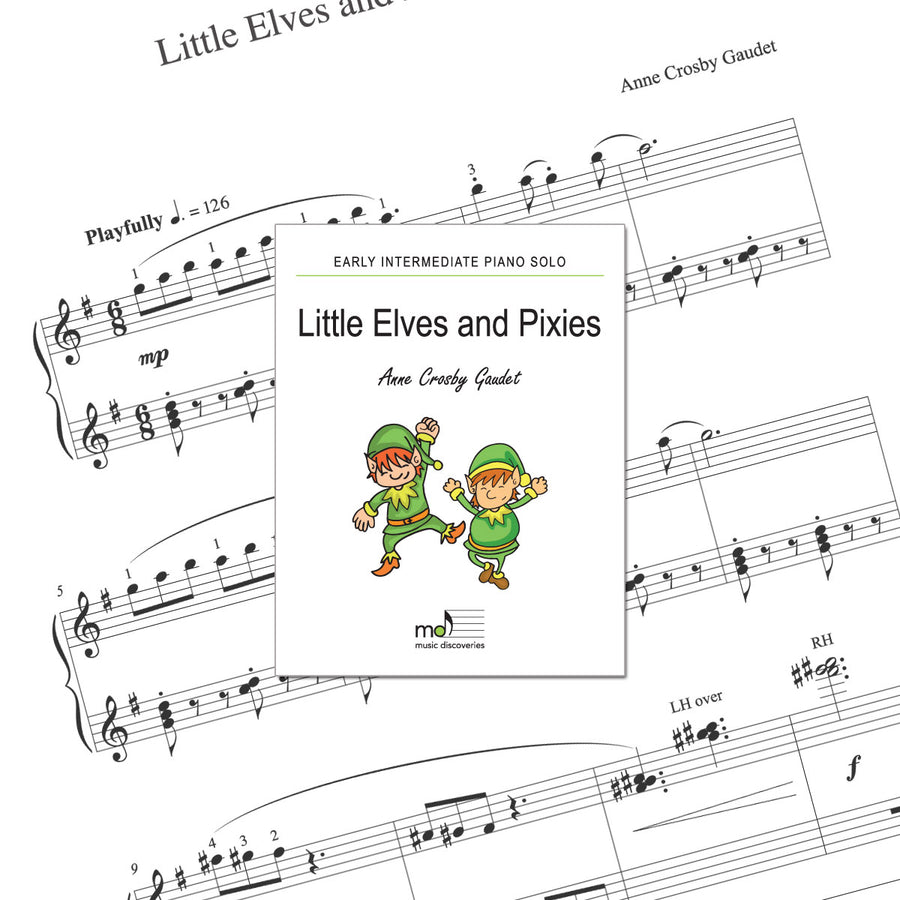 Little Elves and Pixies is an early intermediate piano solo by Anne Crosby Gaudet. Private studio license is available for a convenient download, print and play teaching resource.
