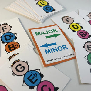 Identify major and minor triads with the Major Minor Boys printable teaching aids from Music Discoveries