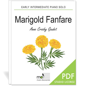 Marigold Fanfare is an early intermediate piano solo by Anne Crosby Gaudet. Private studio license is available for a convenient download, print and play teaching resource.