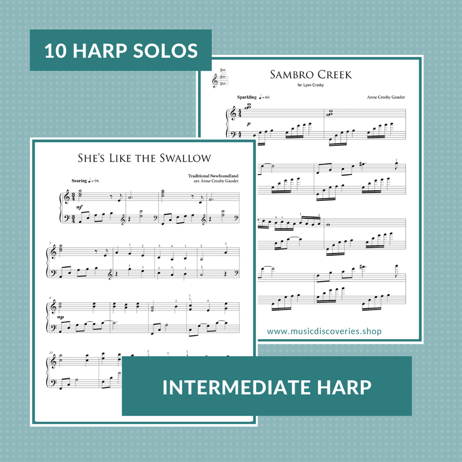 Morning Has Broken, and collection of 10 traditional and original harp solos by Anne Crosby Gaudet