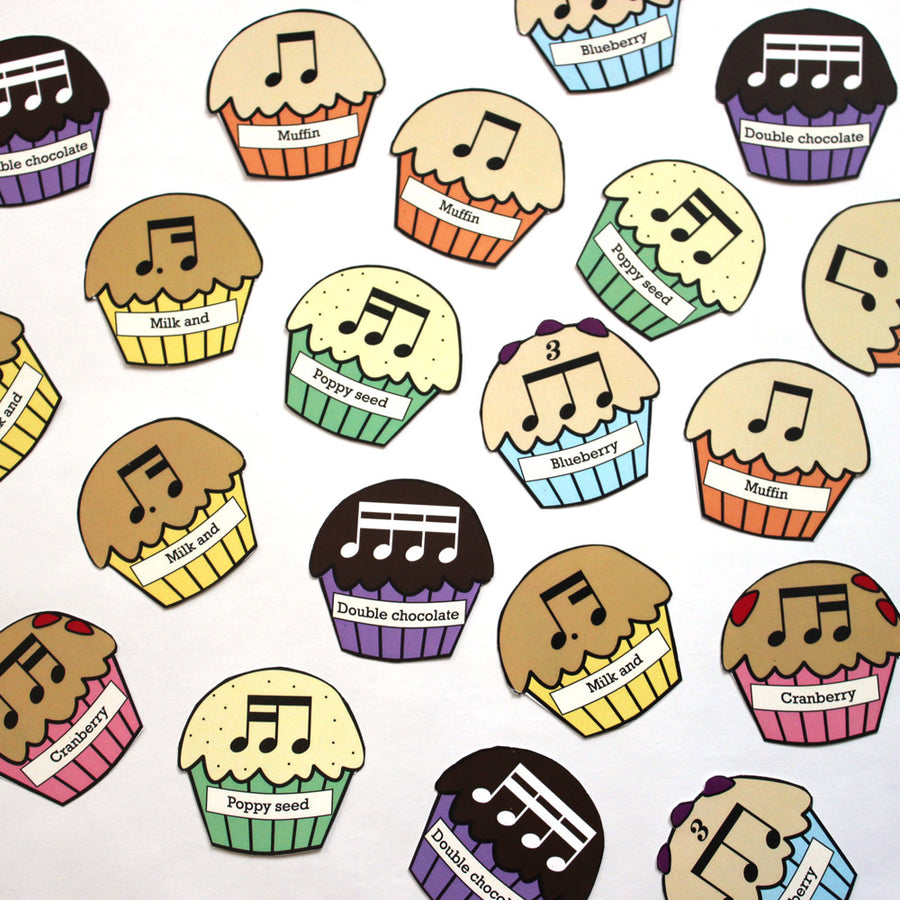 Muffin Rhythm printable teaching aid by Anne Crosby Gaudet at Music Discoveries