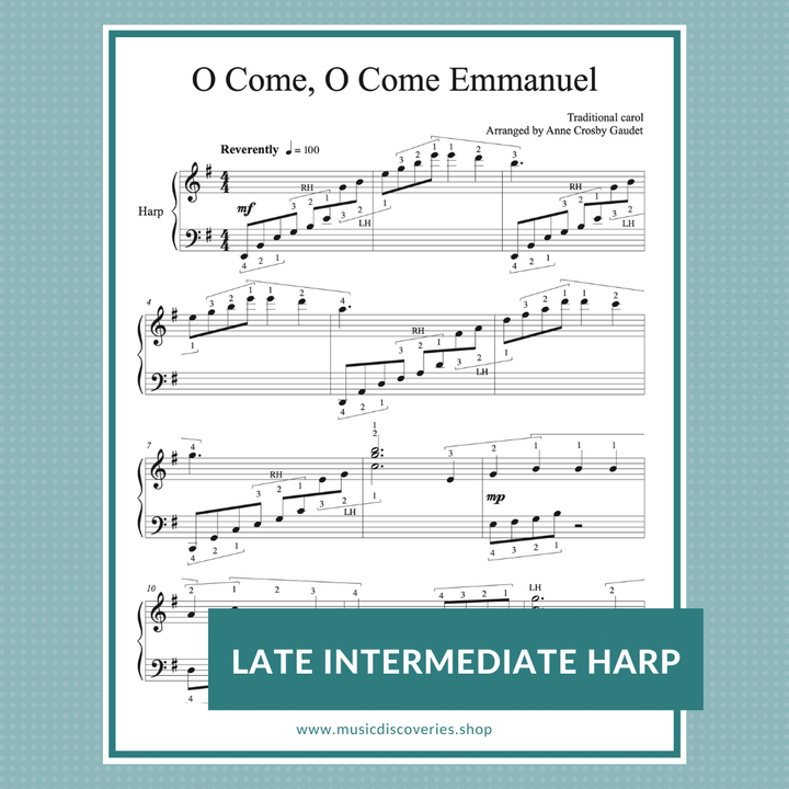 O Come, O Come Emmanuel, late intermediate harp sheet music arranged by Anne Crosby Gaudet
