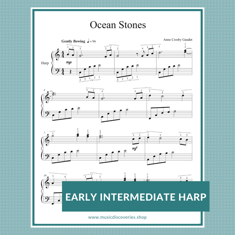 Ocean Stones early intermediate sheet music for harp