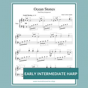 Ocean Stones early intermediate sheet music for small harp