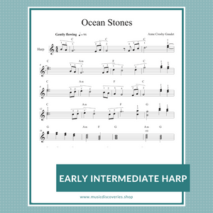 Ocean Stones early intermediate lead sheet music for harp