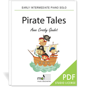 Pirate Tales is an early intermediate piano solo by Anne Crosby Gaudet. Private studio license is available for a convenient download, print and play teaching resource.