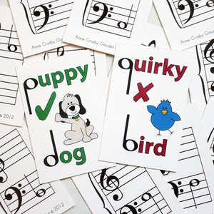 The Quirky Bird cards help students identify correct music stem placement