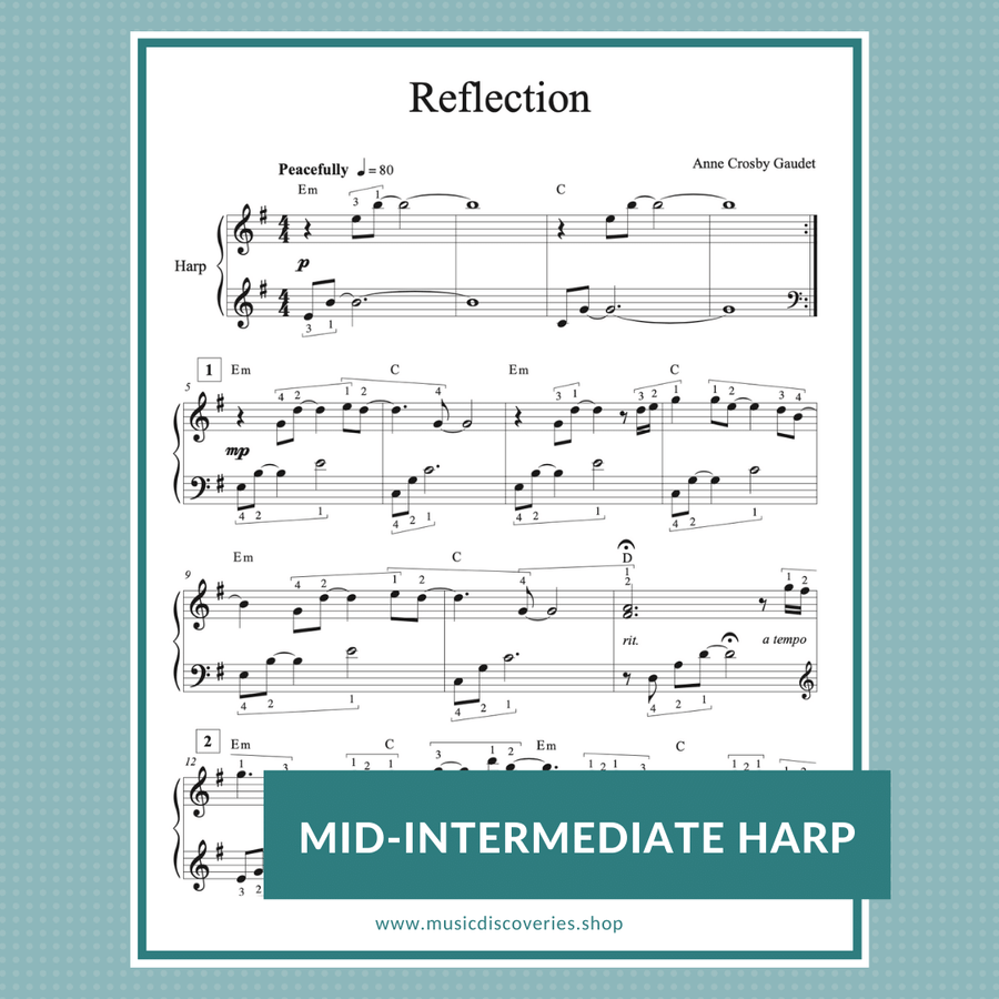 Reflection, mid-intermediate harp solo by Anne Crosby Gaudet
