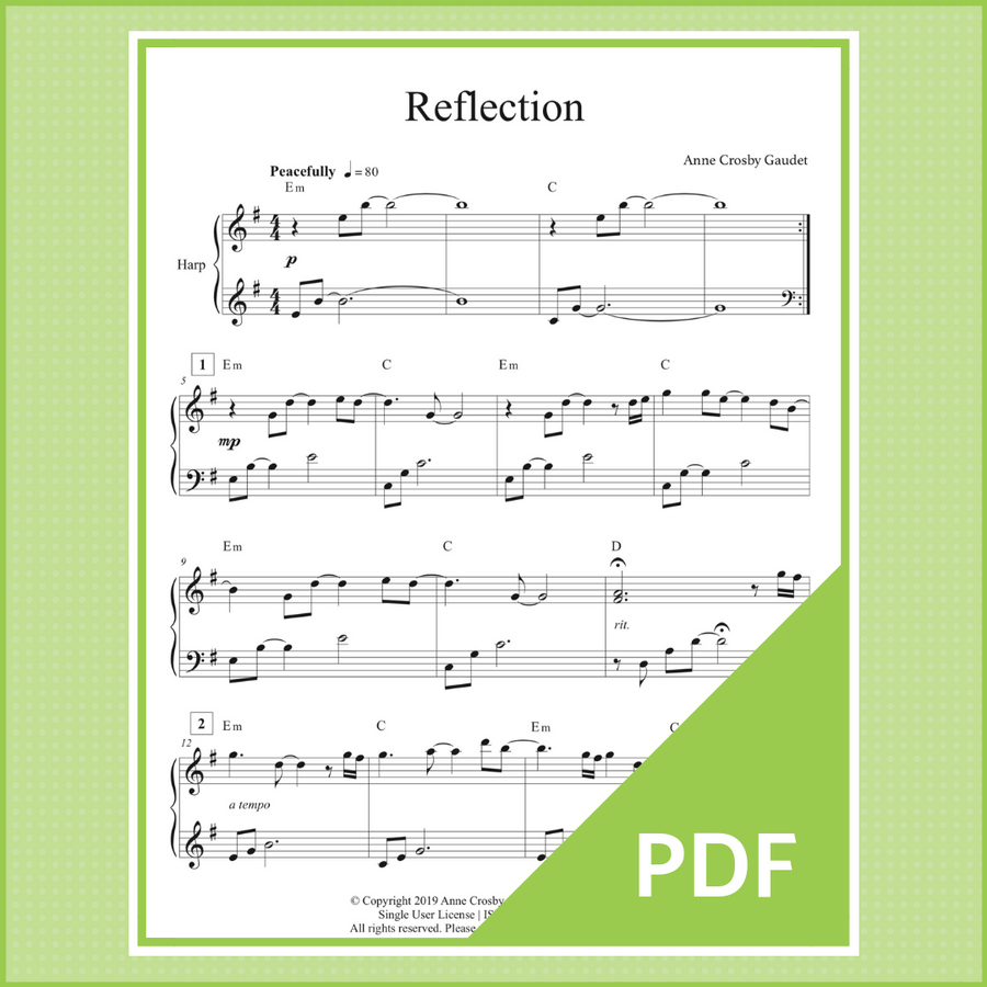 Reflection is a meditative solo by harp therapist Anne Crosby Gaudet