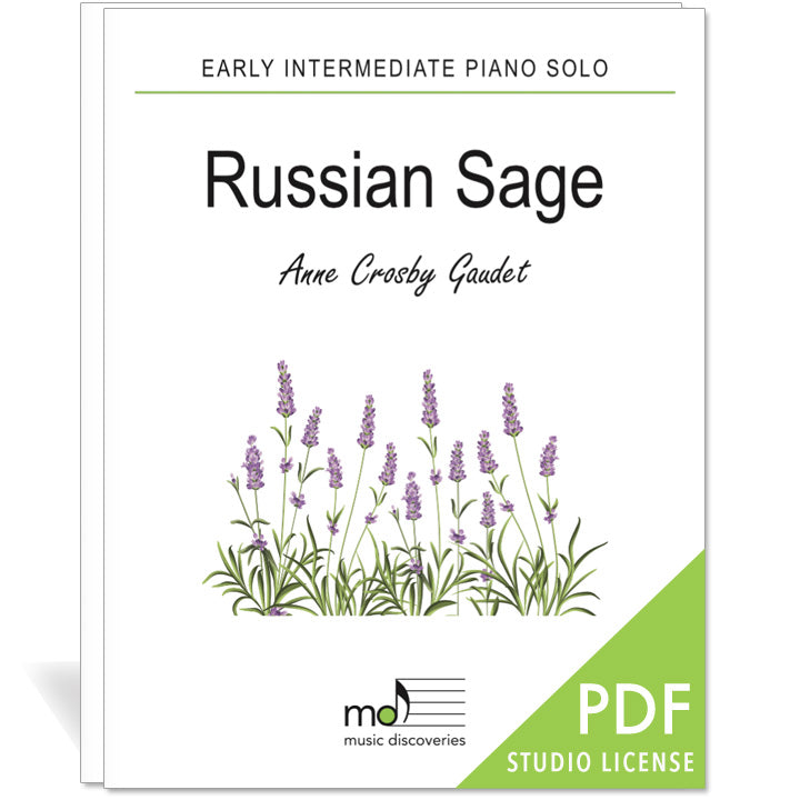 Russian Sage is an early intermediate piano solo by Anne Crosby Gaudet. Private studio license is available for a convenient download, print and play teaching resource.