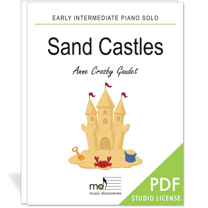Sand Castles is an early intermediate piano solo by Anne Crosby Gaudet. Private studio license is available for a convenient download, print and play teaching resource.