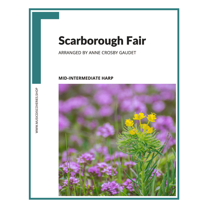 Scarborough Fair, mid-intermediate harp sheet music arranged by Anne Crosby Gaudet