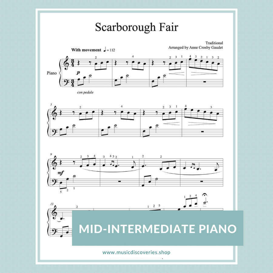 Scarborough Fair, arranged for piano by Anne Crosby Gaudet